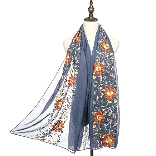 RiscaWin Lady Colorful Exquisite Daisy Flower Embroidered Scarf Shawl (Denim Blue) Ladies Daisy