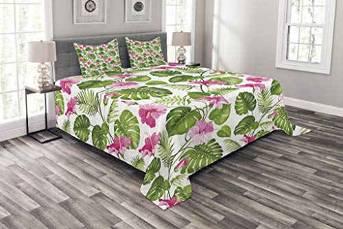 Lunarable Leaf Bedspread Set King Size, Hawaiian Hibiscus Crystal Pink Flower with Palm Tree Leaves Art Print, Decorative Quilted 3 Piece Coverlet Set with 2 Pillow Shams, Pale Pink and Dark Green - Print Bedding Hawaiian