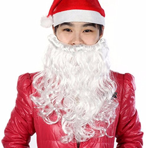 Dress Costume Cleaner Fancy (Santa Claus Father Christmas White Beard Moustache Xmas Mens Fancy Dress Costume by)