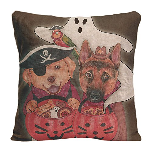 Ldj Cotton Polyester Square Throw Pillow Case Decorative Cushion Cover Pillowcase Design With Halloween Lab Shepherd And Parrot In Costumes Custom Pillow Cover Print Double Side Sized 20X20 (Edward Cullen Costumes)