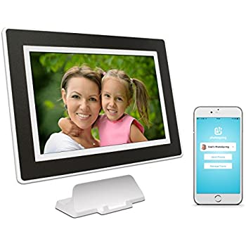 PhotoSpring (16GB) 10in WiFi Digital Photo Frame for Videos & Pictures, Touch Screen, Battery, iPhone & Android App, HD Screen, White with Black Mat - 15,000 photo capacity