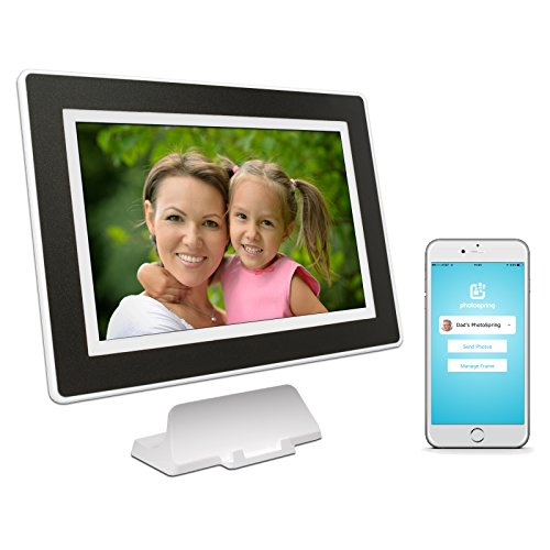 PhotoSpring (16GB) 10in WiFi Digital Photo Frame for Videos & Pictures, Touch Screen, Battery, iPhone & Android App, HD Screen, White with Black Mat - 15,000 photo capacity from PhotoSpring