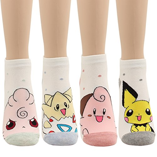 WOWFOOT Cute Pokemon Cartoon Character Print Cotton Crew Floor Socks For Women Girl Boy 4pair (4 pair - Pokemon Series - Character Cartoons