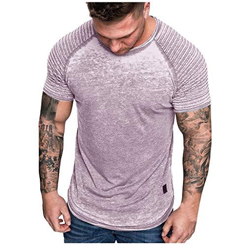 [해외]남성용 캐주얼 크루넥 반소매 티셔츠 기본 단색 주름 탑 / Yuege Tops American Shirts for Men Gray