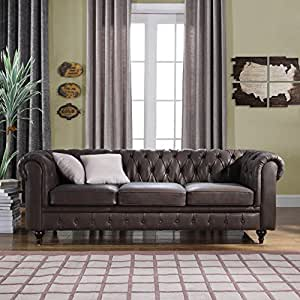 Amazon Com Classic Scroll Arm Real Leather Chesterfield