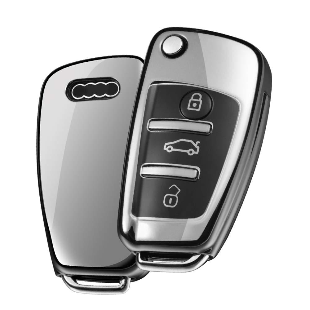 Key Keyless Cover for Audi A4 A5 A6 A7 Q5 Q7 Q8 RS SQ 3-Buttons TPU Silicone Audi Key fob Cover Case Black OATSBASF Fit to Audi Key Cover