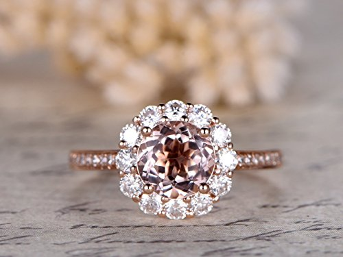 7mm Round Cut 1.2ctw VS Natural Pink Morganite Solid 14k Rose Gold Charles & Colvard Moissanite Halo Floral Antique Design Art Deco Engagement Ring Bridal Proposal Diamond Wedding Band Size 4-9