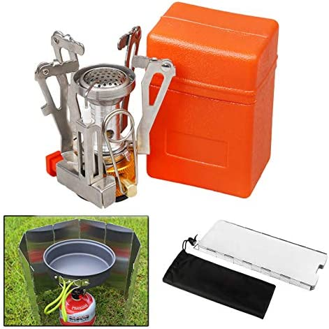 X.Store Mini Camping Stove and Windshield, Ultralight Portable Outdoor Backpacking Small Camping Stove with Piezo Ignition