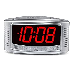 DreamSky Little Digital Alarm Clock With Snooze, 1.2 Clear Led Digit Display With Dimmer, 2 Level Alarm Sound Optional, Simple Outlet Powered Alarm Clock With Battery Backup (Silver+red digit)