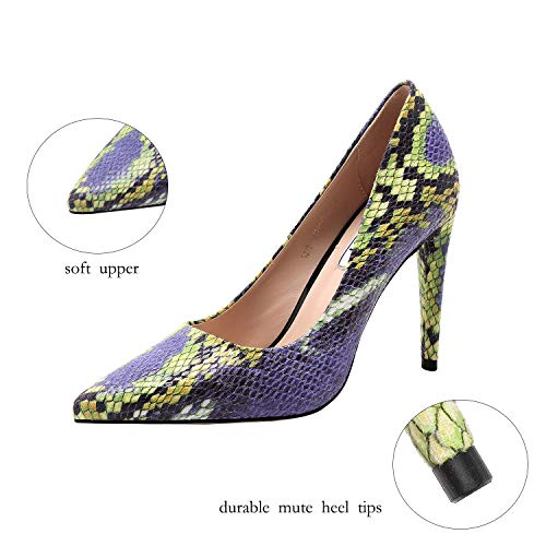 Vivi Fashion High Heel Pointed Toe Blue and Green Snake Print Slip on Heels for Women Size 7.5