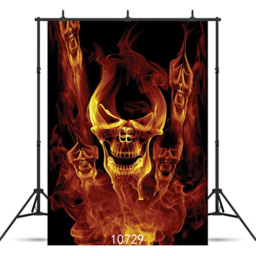 SJOLOON 5X7ft Halloween Photography backdrops Halloween Fire Specter