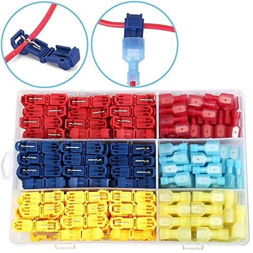 TICONN 240pcs T-Tap Wire Connectors, Self-Stripping Quick Splice Electrical Wire Terminals, Insulated Male Quick Disconnect Spade Terminals Assortment Kit with Storage -