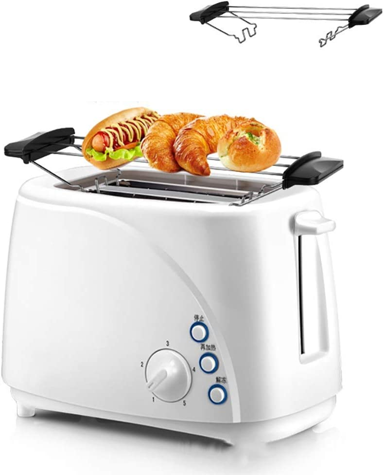 Toaster Toaster 2 Slice, Portable Small Toaster with Warming Baking Rack, 5 Shade Settings, Defrost/Reheat/Cancel Function, for Bagels, Specialty Breads & Other Baked Goods, White