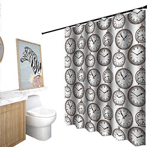 BlountDecor Clock Shower Curtain Customized Pocket for sale  Delivered anywhere in USA