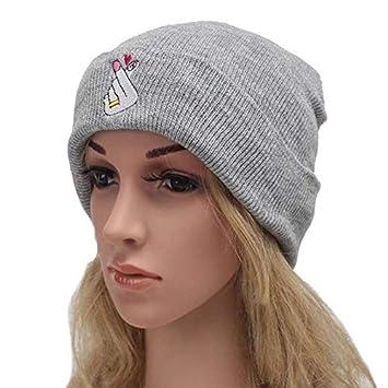 CGXBZA Motif De Broderie damour Bonnets en Tricot Chapeaux pour Femmes Hiver Casquette Skully