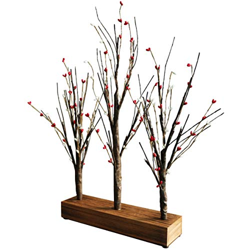 CVHOMEDECO. Battery Operated w/Timer Illuminated Pip Berry Tree Centerpiece Lighted Three Trees Tabletop LED Lights with Rustic Wooden Base, for Home/Party/Wedding/Festival/Indoor Decoration, 21-Inch - Illuminated Artificial Tabletop Christmas Tree