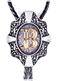 Golden Initial in Flower Nursery Cowboy Bolo Tie with Cowhide Rope (B)