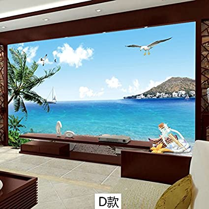 Lwcx 3d Sea Coconut Beach Wallpaper 300x210cm Amazon