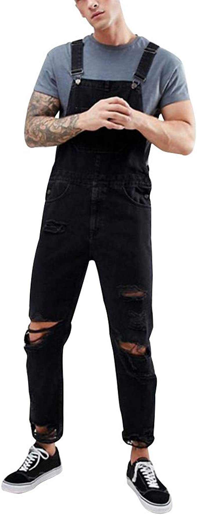 Men Classic Jeans Denims Ripped Hole Suspender Trousers Jumpsuits Overalls Pants