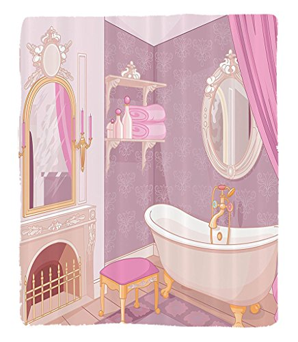 Chaoran 1 Fleece Blanket on Amazon Super Silky Soft All Season Super Plush Teen Girls Decor Collection Fancy in The Palace of The Princess with Bathtub Cabinet Mirror Image Print Fabric et Pink Beige by chaoran