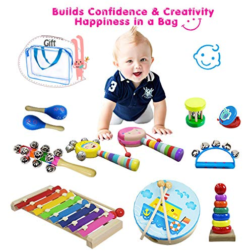 Percussion Replacement (CACA 15pcs Musical Instrument Kit with Xylophone | Wooden Percussion Instruments Toy for Kids Toddler Preschool Educational | Early Learning Musical Toy Gift Set for Boys and Girls)