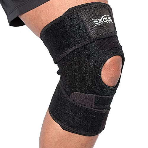 EXOUS Knee Brace Support Protector – Relieves Patella Tendonitis – Jumpers Knee Mensicus Tear – ACL Lateral & Medial Ligament Sprains Comfort Design True Non-Slip FIT for Arthritis – Sport – Running