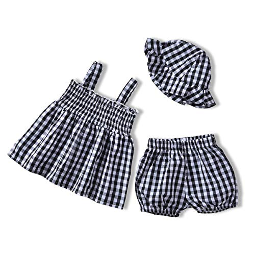 Plaid Baby Girl Clothes,Newborn Suspender Top+Plaid Shorts+Hat Summer Outfits (Black&White, 6-12M) ()
