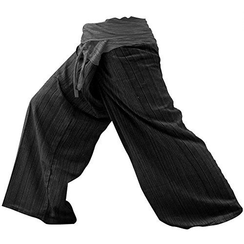 [NEW Unisex 2 Tone Thai Fisherman Pants Yoga Trousers Free Size Cotton Gray and Charcoal, FS] (Lily Pad Costume)