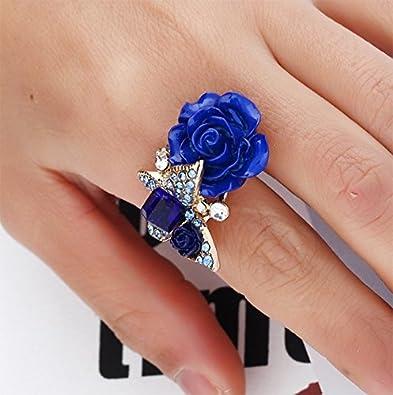 Gespout Bague pour Femme Anneaux Fleur Rose Reglable Bijous Cadeau danniversaire Fashion /Él/égant D/écoration id/éale Romantique Diff/érentes Couleurs