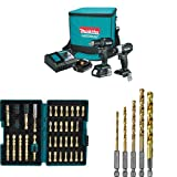 Makita CX200RB 18V LXT Lithium-Ion Sub-Compact Brushless Cordless 2-Pc. Combo Kit (2.0Ah) with Impact Gold Torsion Bit Set (38 Piece) and Titanium Coated Drill Bit Set, 1/4-Inch, 5-Pack