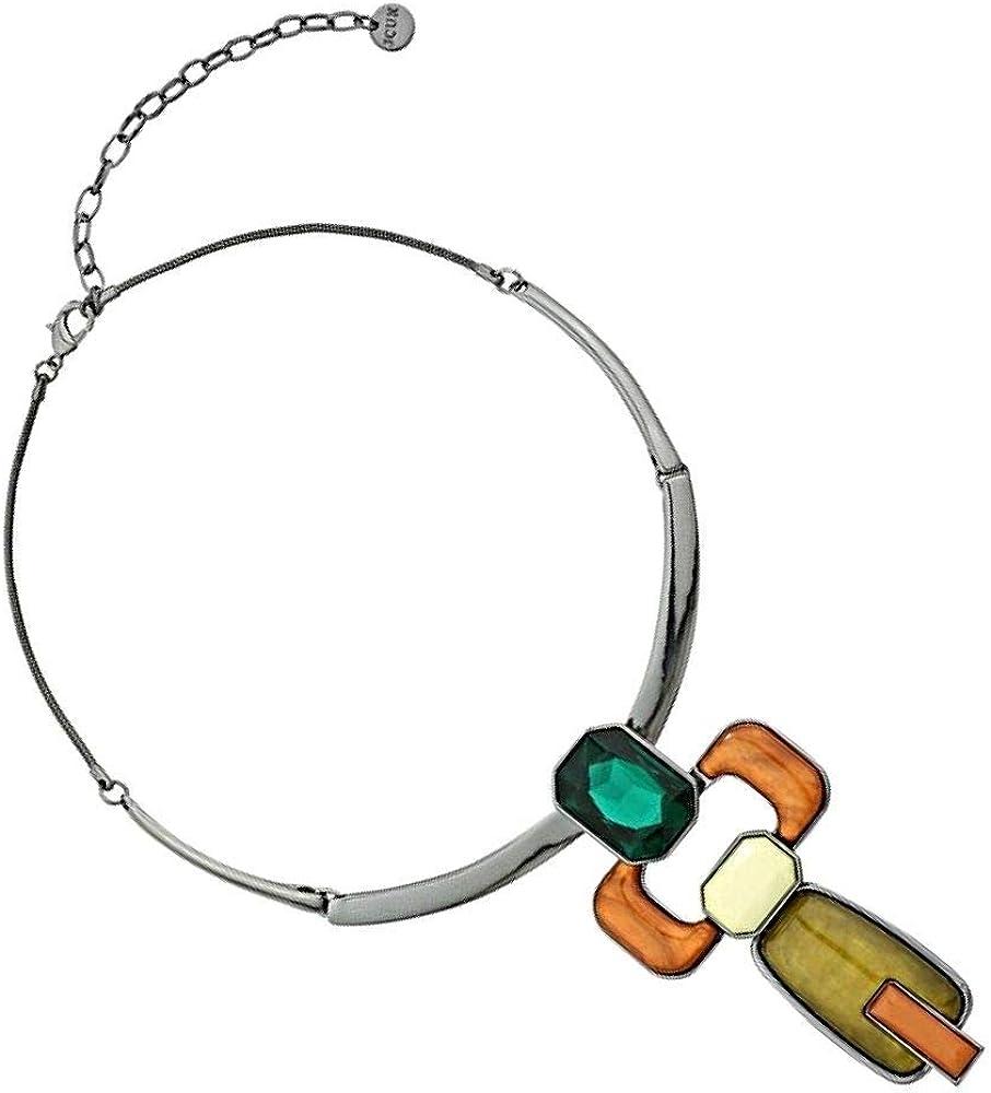 Rue B Beautiful Fashion Jewellery: Collar de hematita Negro Brillante Verde Oliva, Color Miel Brillante Tono Esmeralda Piedras (YK200)