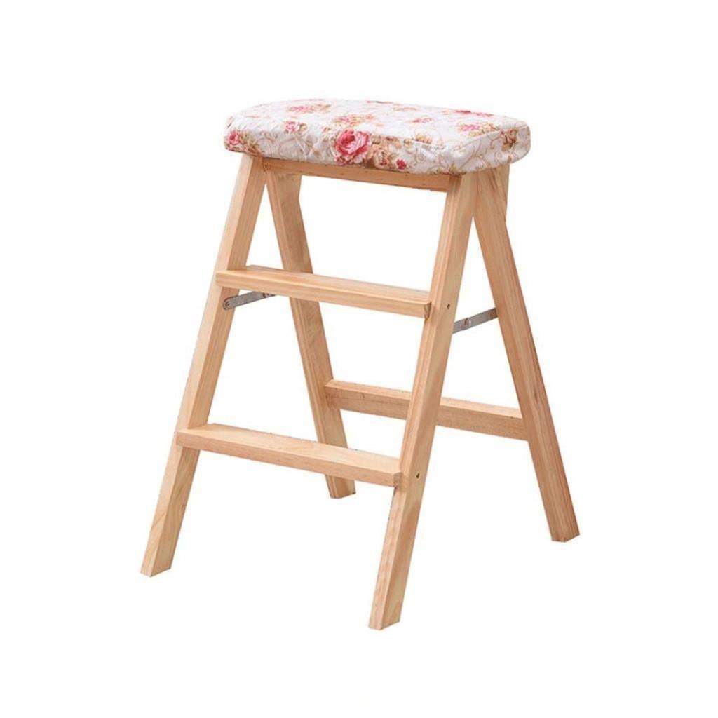 無垢材折りたたみスツールホームクライミングスツールファッションクリエイティブ折りたたみ椅子ポータブルデュアルユースキッチンベンチ階段スツール42×49×63 cm (Color : T) B07SX4Y153 T