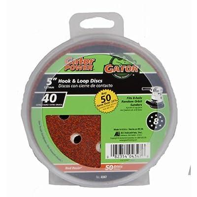 """Gator Finishing 4347 40 Grit Aluminum Oxide Sanding Discs (50 pack), 5"""""""