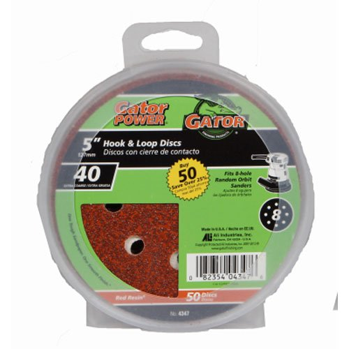 ALI INDUSTRIES 4347 8 Hole Hook and Loop 40 25 CT Grit Disc, 5-Inch, 50-Pack, 5'' by Ali Industries