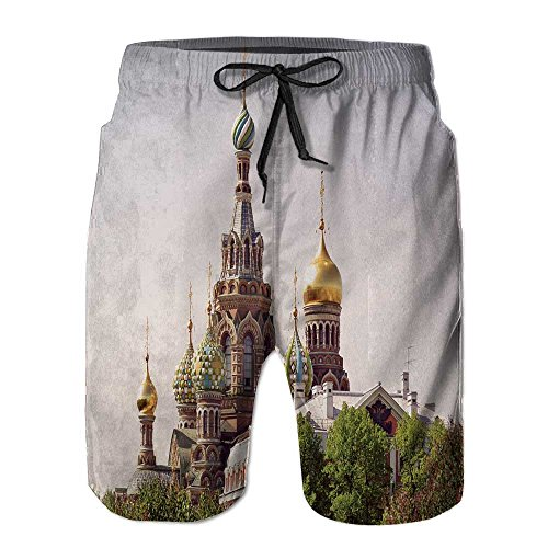 Men's Swim Trunks,Church of The Saviour on Spilled Quick Dry Board Shorts by PRUNUS