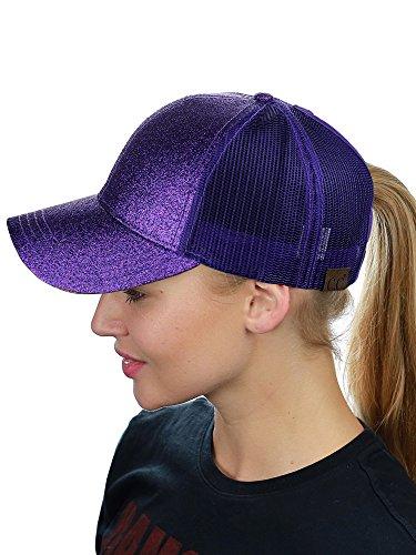 (C.C Ponycap Messy High Bun Ponytail Adjustable Glitter Mesh Trucker Baseball Cap, Purple)