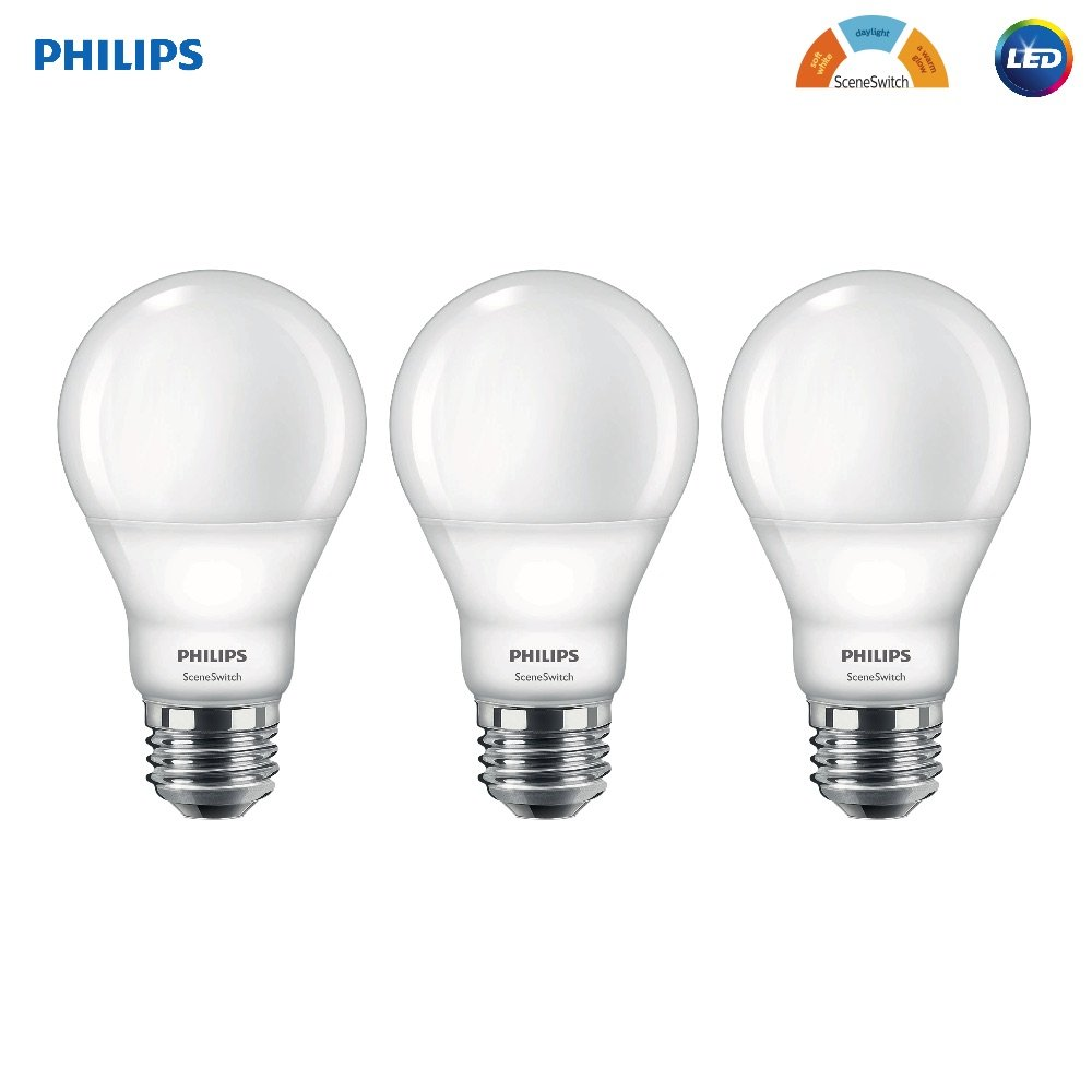 Philips 60ワット相当sceneswitchソフトホワイト、デイライト、暖かいグローa19 LED電球、フラストレーションフリー 3 Pack 464925 3 B01LOSEU3O   3 Pack
