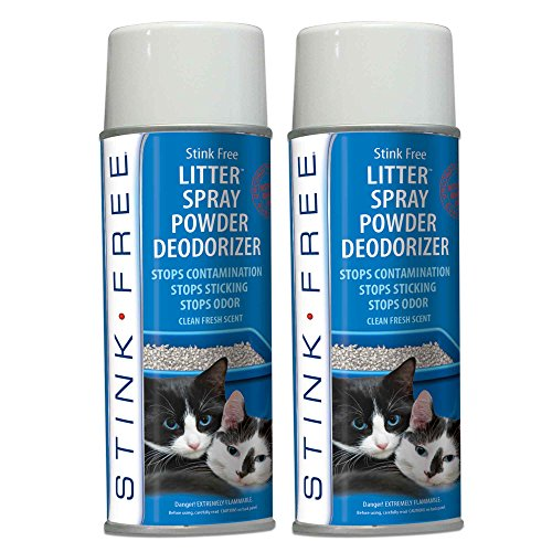 Stink Free Cat Litter Box Deodorizer Powder Spray & Odor Eliminator (2 Cans) - Non-Stick Kitty Litter Box Deodorizer, Eliminators, Absorber & Freshner Cat Spray Litter Box
