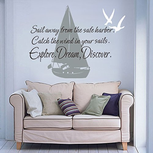 ¡°Sail Away From The Safe Harbor,Explore,Dream,Discover¡±Mark Twain Wall Letters & Sail Boat Sea Gulls Wall Decal For Home B(Large) (Harbor Seascape)