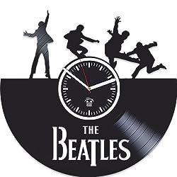 Kovides The Beatles Vinyl Wall Clock, Wall Sticker, Rock Music Band, Handmade Best Gift for Musician, Vinyl Record, Birthday Gift, Silent, Paul McCartney John Lennon