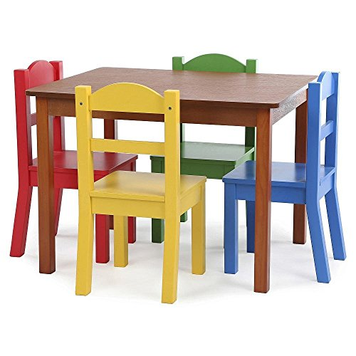 Kids Wood Table Set with 4 Chairs in Primary Colors - Kid...