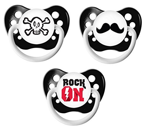 Ulubulu Classic Expression Pacifier - 0-6 Months - 3 Pack - Rock On (Pacifier On Rock)