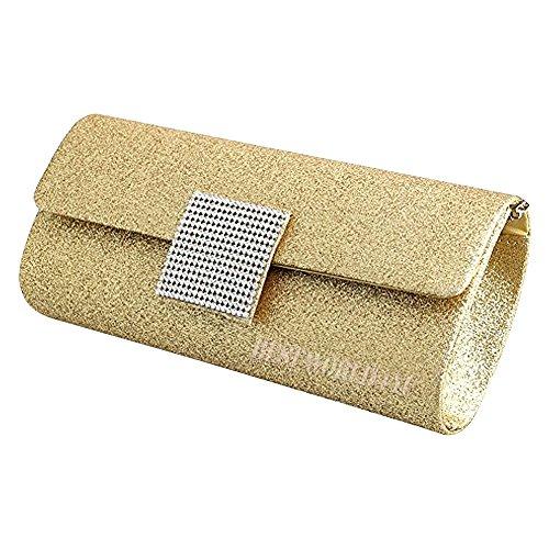Wocharm Womens Shimmer Handbag Ladies Glitter Bridal Party Evening Prom Envelope Clutch Bag Large Purse Gold