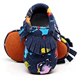 HONGTEYA Toddler Moccasins Boys Shoes - Soft Soles Girl Baby Shoes Fringe Baby Moccasins (0-3 Months/US 3/4.13''/See Size Chart, darkblue)