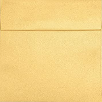 Lux Paper Square Invitation Envelopes For 6 1 4 X 6 1 4 Cards In 80 Lb Gold Metallic Printable Envelopes For Invitations With Peel Press Seal 50