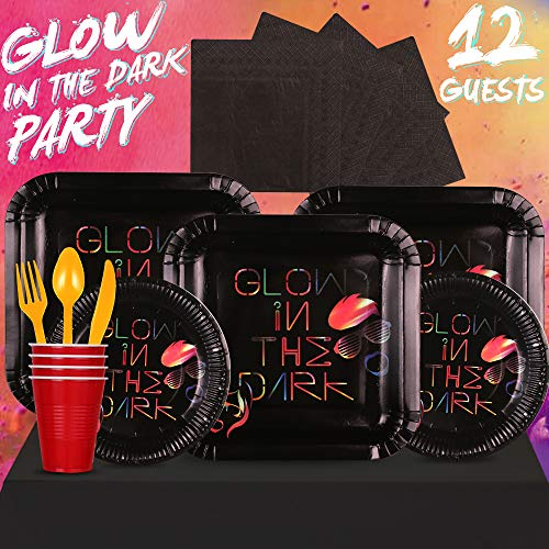 Partybus Glow In The Dark Party Supplies Set - Serves 12, 93 Ct, Flourescent Neon Theme Party Disposable Tableware Kit for Boys Girls Kids Birthday Decorations, Includes Dinner Plates, Dessert Plates, Napkins, Cups, Table Cloth, Silverware -
