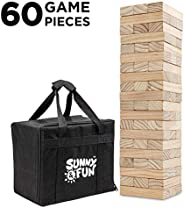 Sunny & Fun Large Tumbling Tower | 60 Piece Set Oversized Wooden Toppling Blocks | Indoor & Outdoor St