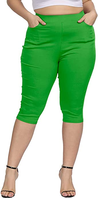Womens Plus Size Capri Casual to Dressy High Waist 4 Pocket Cropped Pants