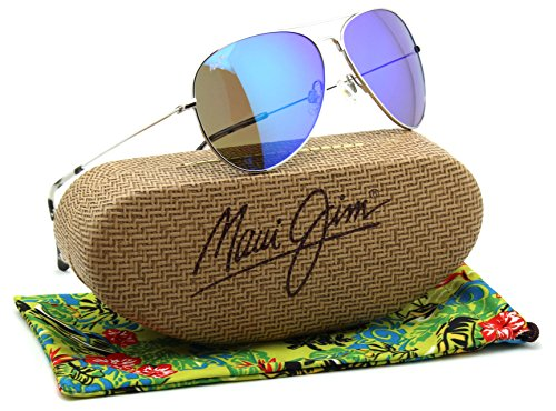 Maui Jim MAVERICKS Titanium Polarized Sunglasses Blue Hawaii - Women Aviator Maui Jim