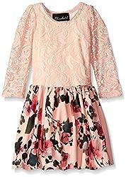 Elisabeth Little Girls' Toddler Drop Waist Lace Top with Print Skirt, Peach, 2T